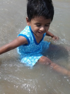 playing in beach
